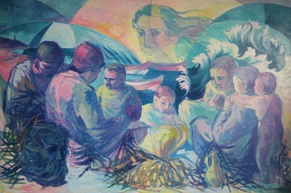 Famiglie di pescatori. Olio su tela, 1997. Cm 150x100