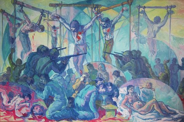 I bioritmi della storia. Olio su tela, 1995. Cm 150x100
