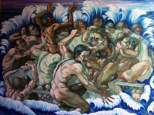 Naufragio di una speranza. Olio su tela, 2012. Cm 200x150