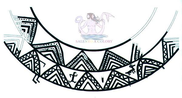 decorazione vaso protogeometrico dalla capanna-tempio di Roca