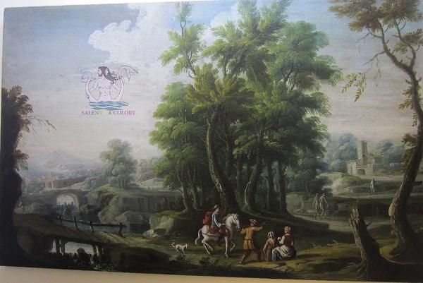 paesaggio con cavalieriecontadini-pittore napoletano seguaceMichelePaganoXVIIIsec