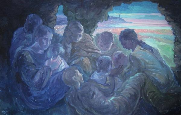 Profughi albanesi nascosti in una grotta di Leuca. Olio su tela, 1995. Cm 170x110
